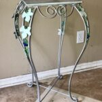 vintage tall metal silver accent table planter tile top leaf vine design linen napkins patio and chairs cherry wood dinner rectangle coffee with storage trestle legs threshold 150x150