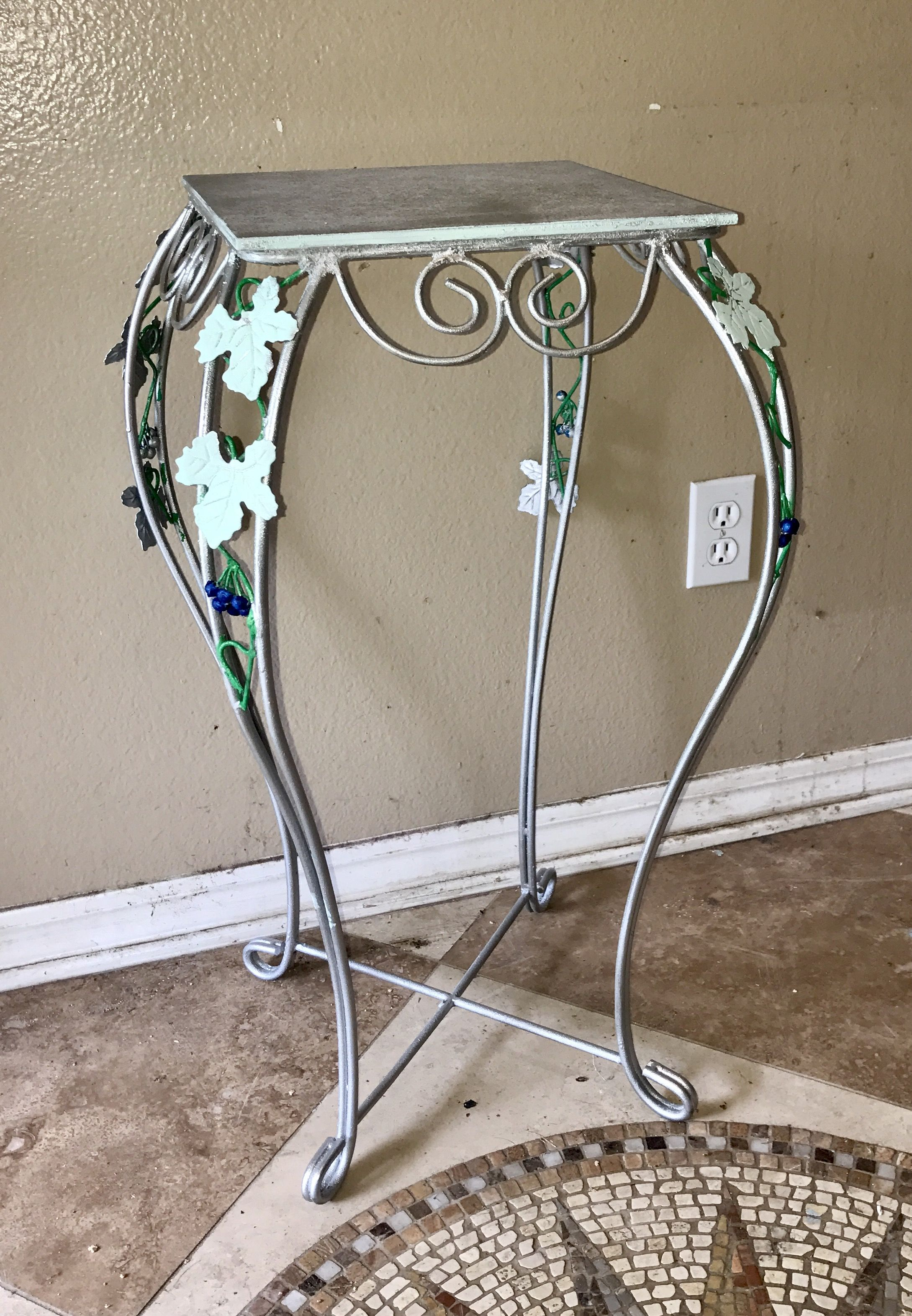 vintage tall metal silver accent table planter tile top leaf vine design linen napkins patio and chairs cherry wood dinner rectangle coffee with storage trestle legs threshold