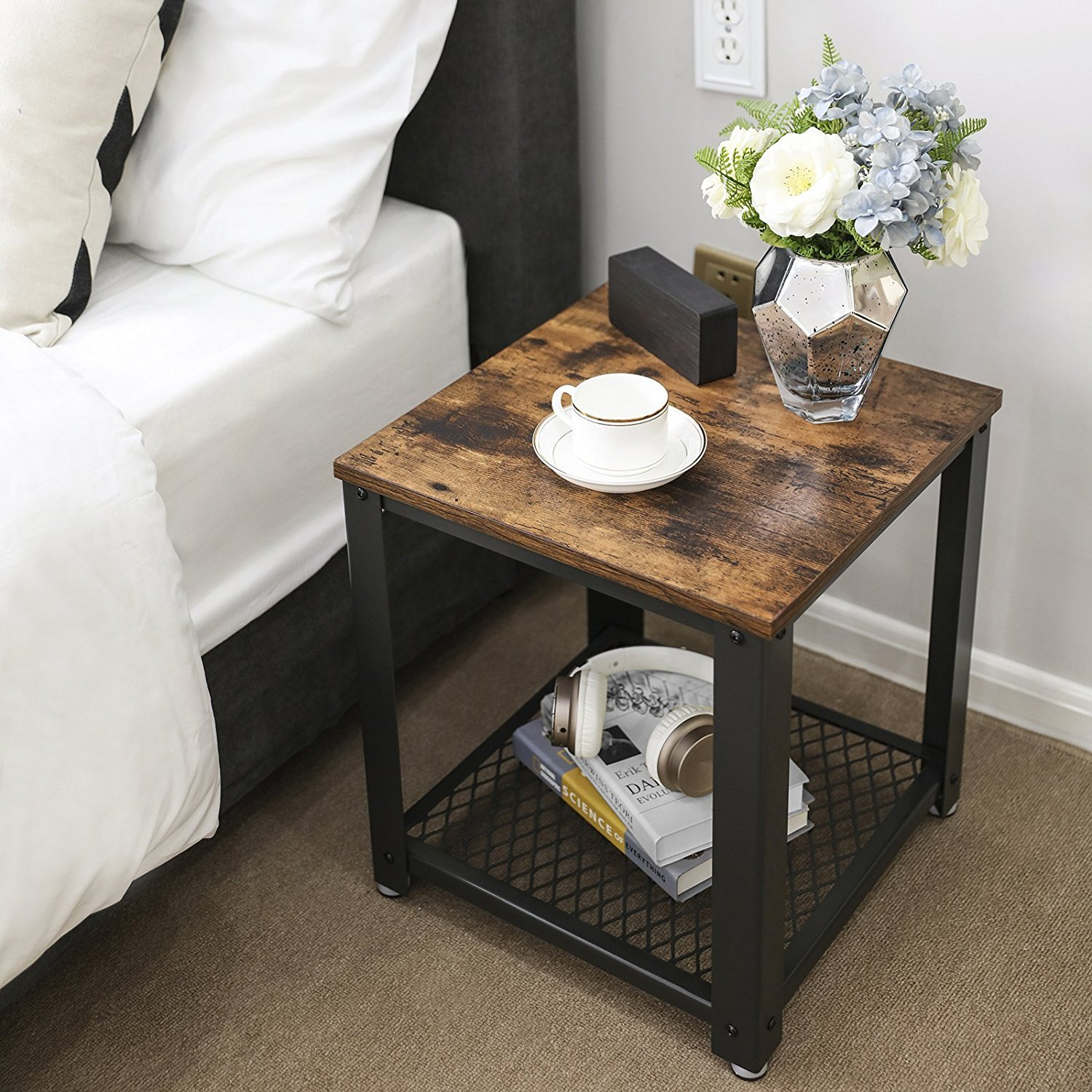 vintage tiered end table square frame side with metal grate shelves live edge wood slab coffee used dressers black doors inch round tablecloth fits what size contemporary accent