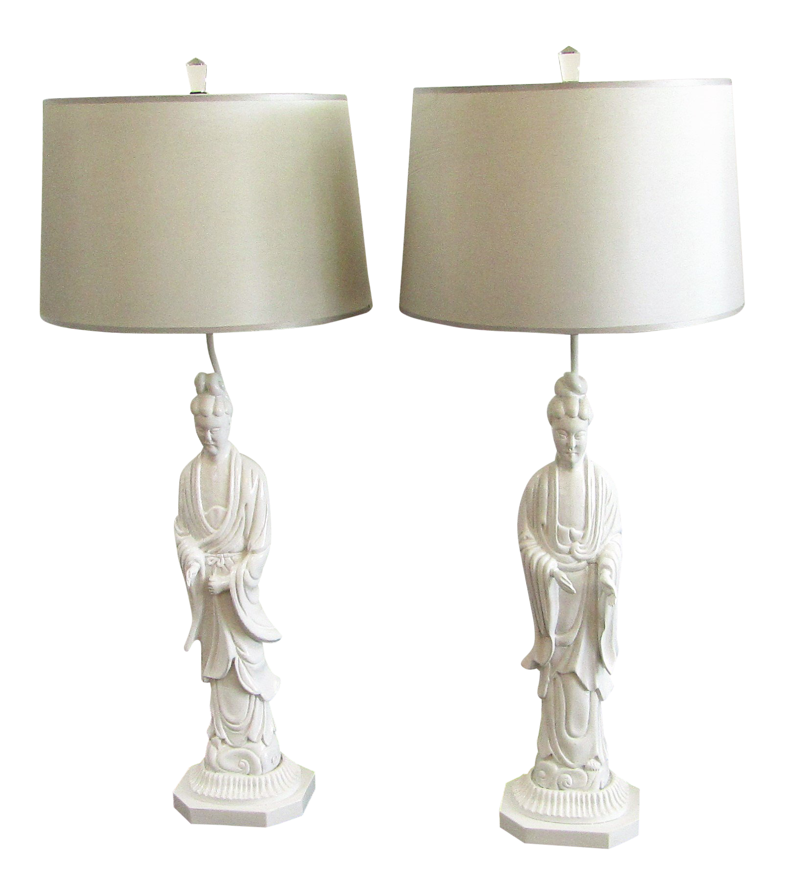 vintage used asian table lamps chairish figure carved white with shades pair accent lighting seattle kirklands offset umbrella base marble stone uma enterprises kmart outdoor