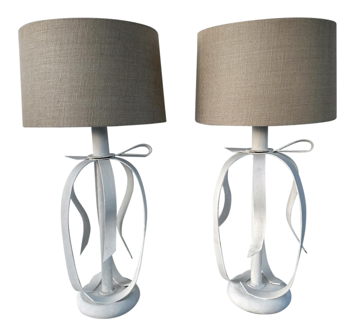 vintage used mid century modern table lamps chairish metal ribbon pair accent lighting seattle patio loveseat cover elephant chair matching coffee and end tables bedside ikea