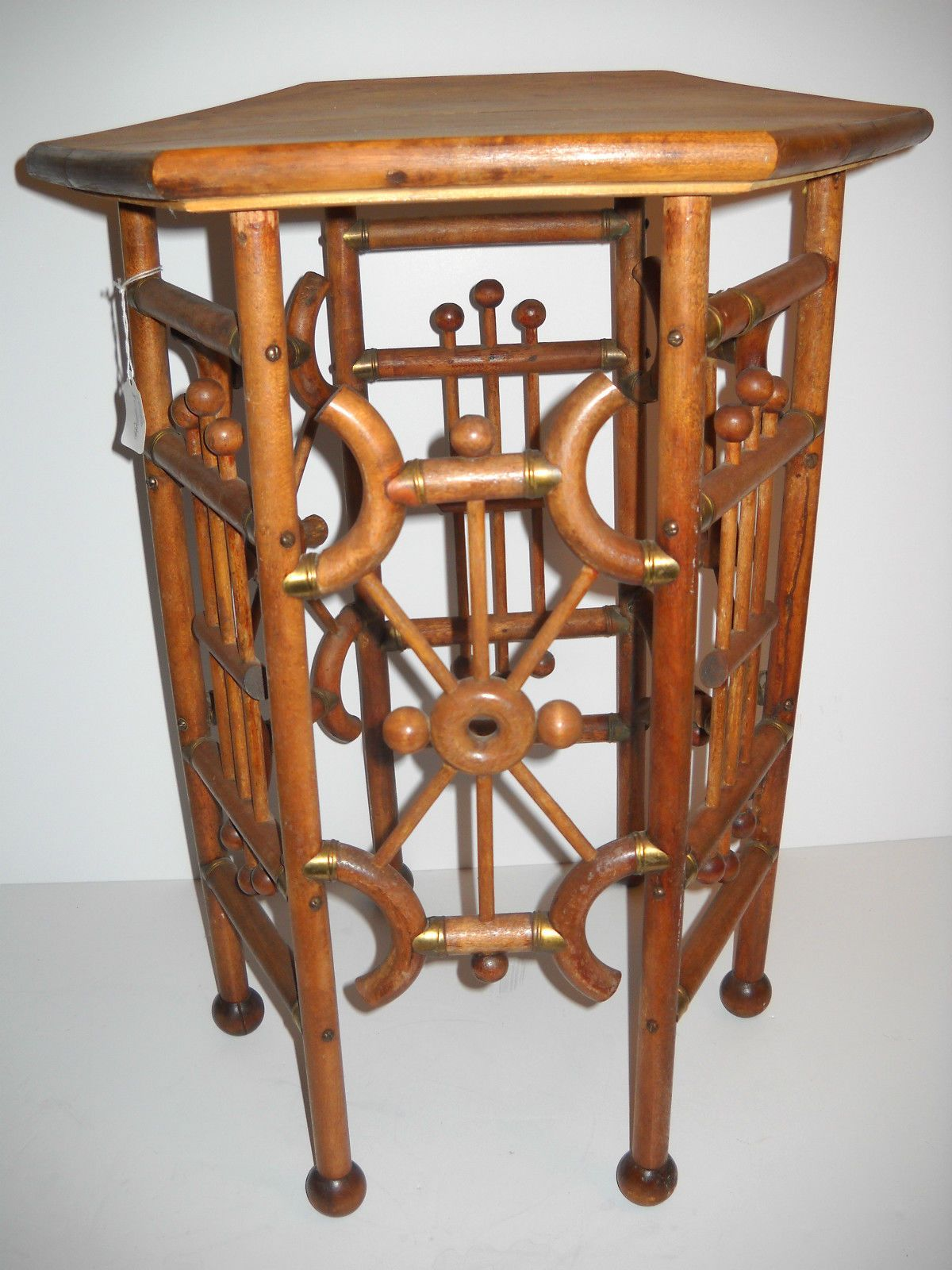 vintage victorian six sided bent oak stick and ball wood side accent table wine cube mirrored media console end tables edmonton long thin behind couch living room furniture white