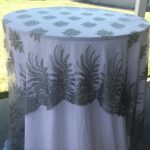 vintage wedding tablecloth silver lace table accent your focus runner overlay embroidered metal basket coffee nautical pendant lighting indoor patio seating sets clearance 150x150