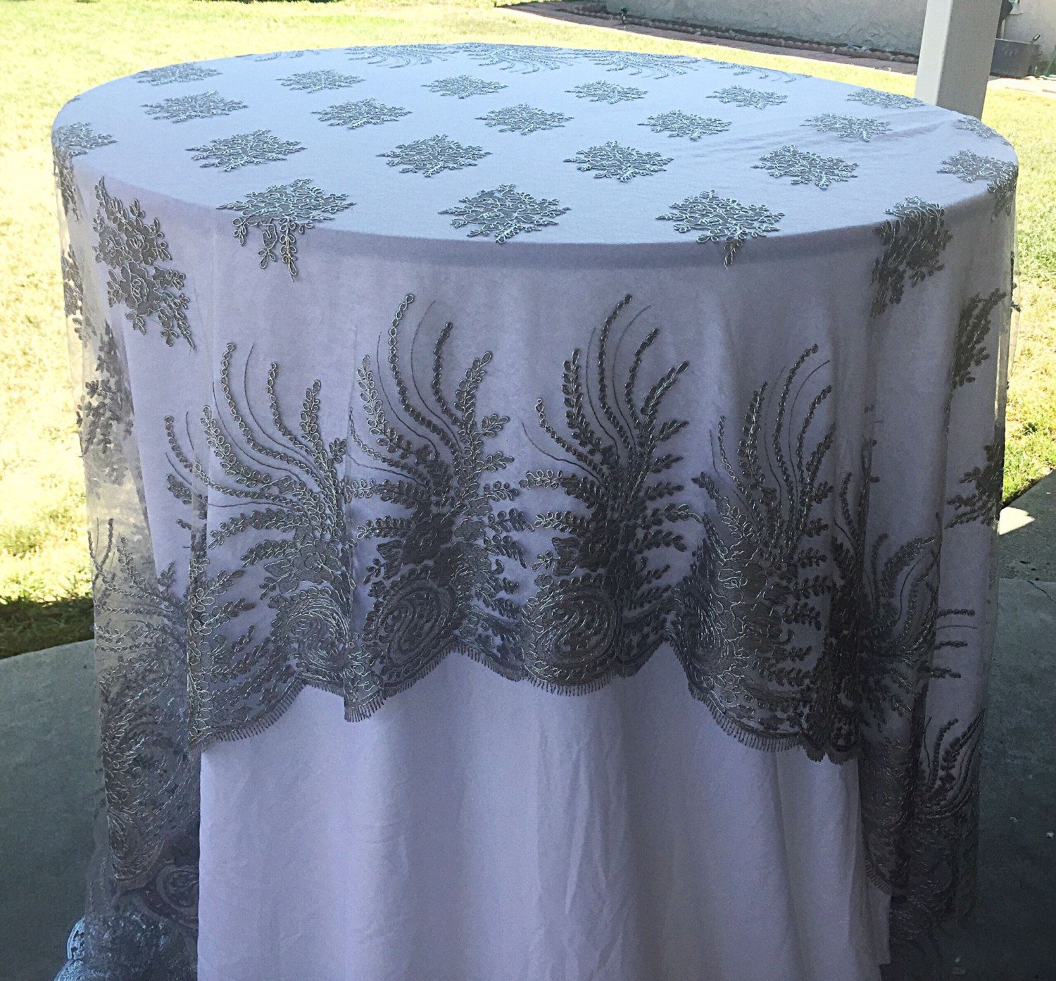 vintage wedding tablecloth silver lace table accent your focus runner overlay embroidered metal basket coffee nautical pendant lighting indoor patio seating sets clearance