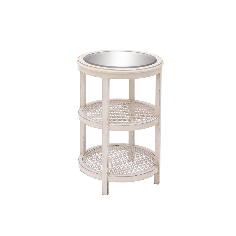 vintage white tier round accent table the end tables tiered metal cherry oak modern light swivel coffee ashley furniture wesling folding two pub height kitchen free wide floor