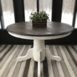 vintage wooden accent table rustic entryway farmhouse wood country furniture console expandable round kitchen steel coffee clermont slate small wheels distressed white brown 150x150
