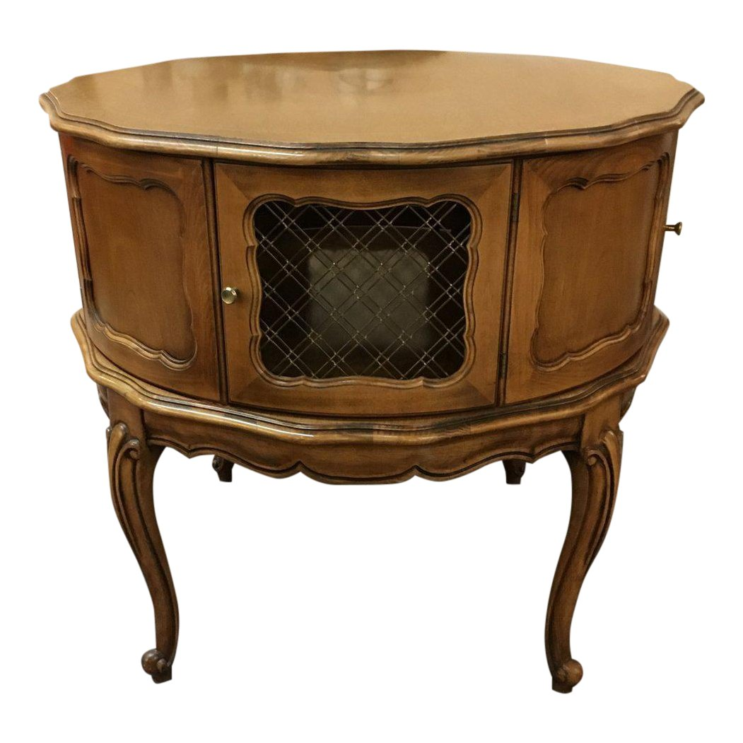 vintage wooden drum accent table cabinet chairish wood battery powered patio lights brown living room furniture small coffee wheels glass nesting end tables chinese lanterns