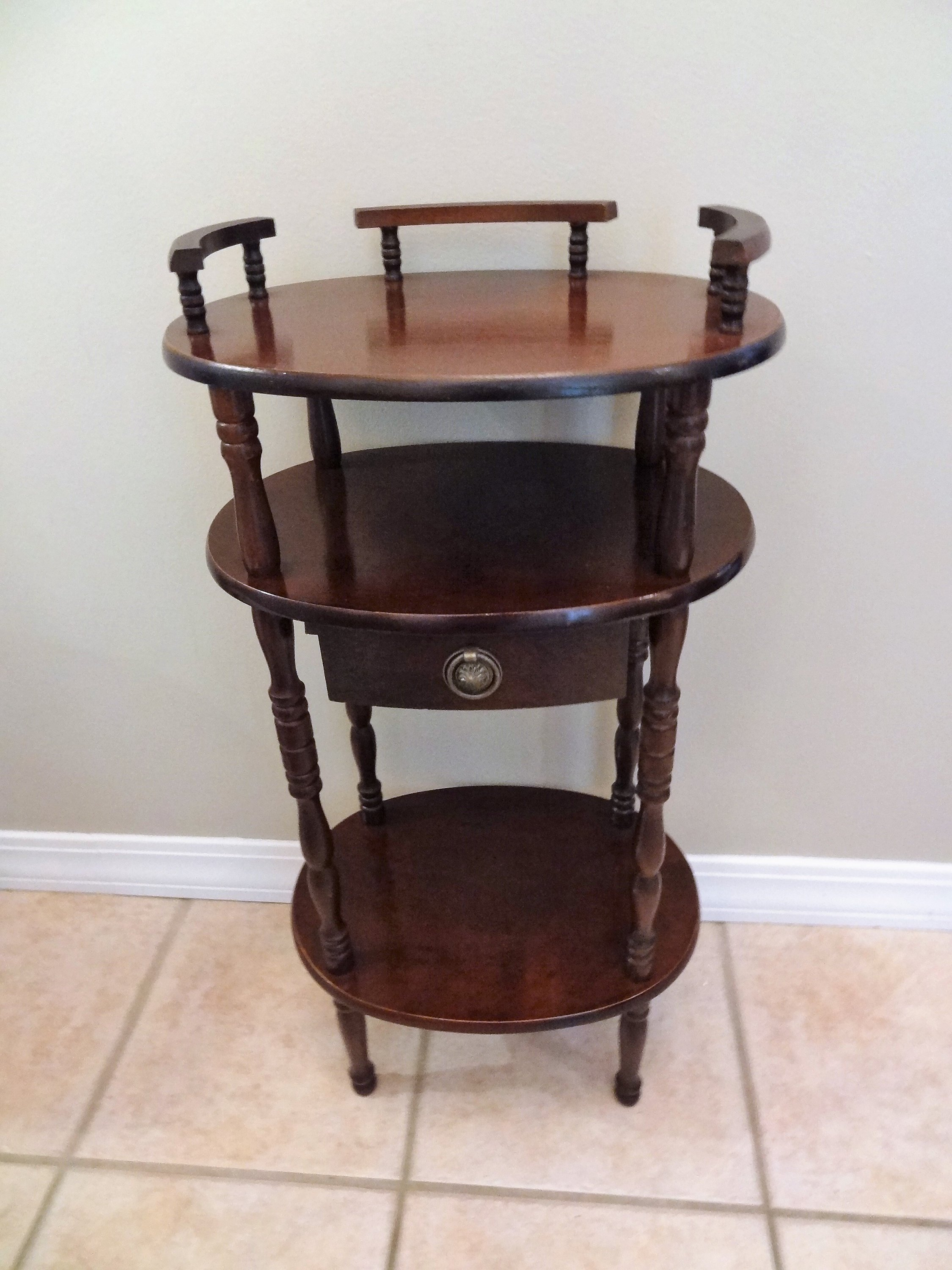 vintage wooden side table shelf old telephone etsy fullxfull antique accent quality patio furniture keter cooler piece coffee set extra long narrow console brown wicker shelby