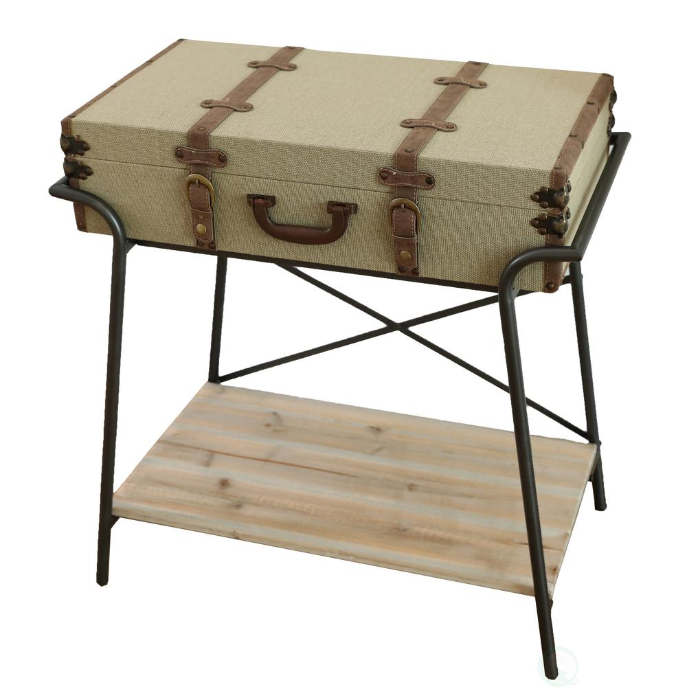 vintiquewise antique style storage trunk accent end table khaki tables christmas tablecloth and runner distressed coffee tray uttermost lighting counter height folding bunnings