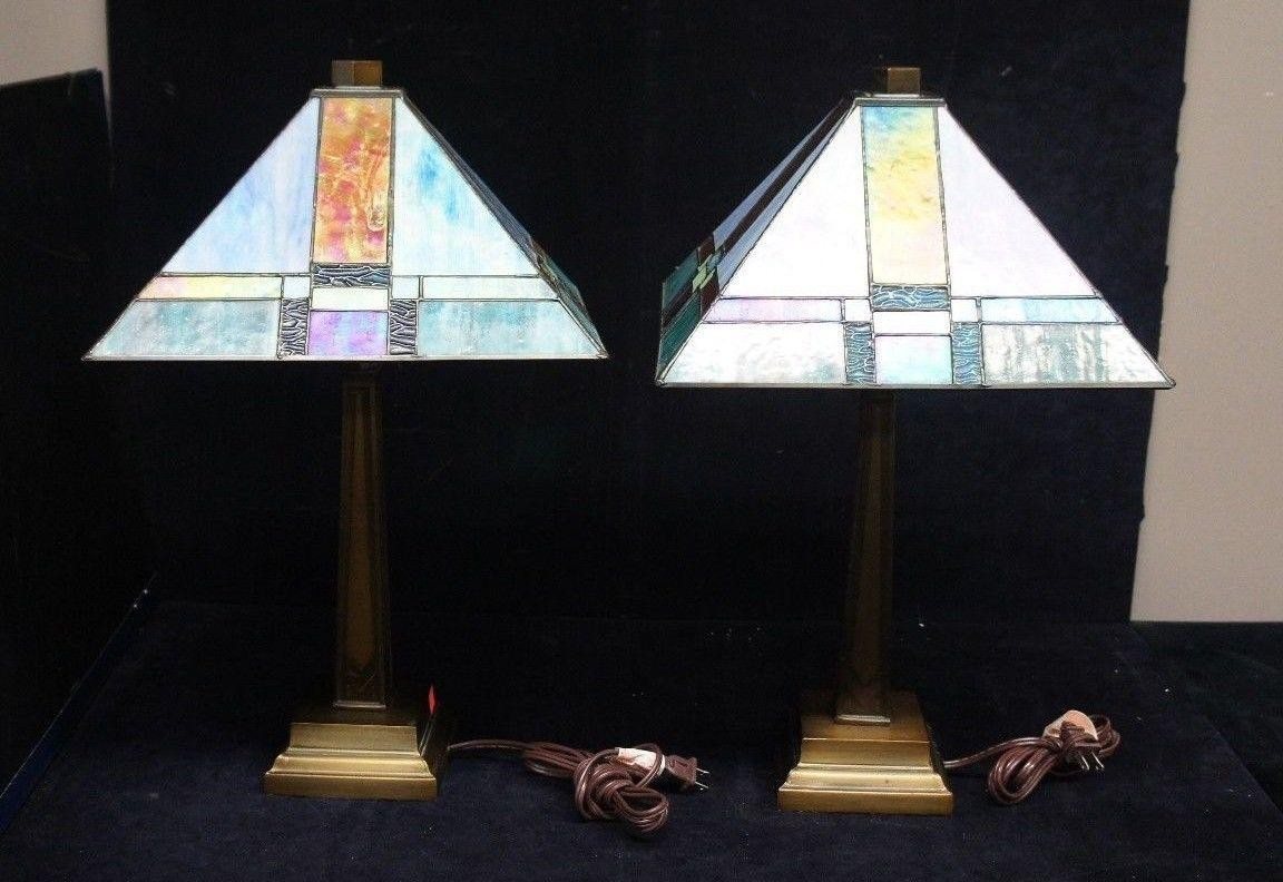 vtg dale tiffany mission style lamps slag glass shade accent table previous rhinestone lamp white and grey marble coffee brass for living room shelf behind couch side designs