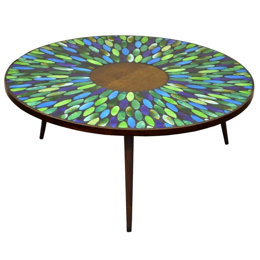 vtg mid century modern jon matin mosaic tile top round coffee table outdoor side danish style acrylic nesting end tables hampton bay wicker patio furniture espresso wood asian
