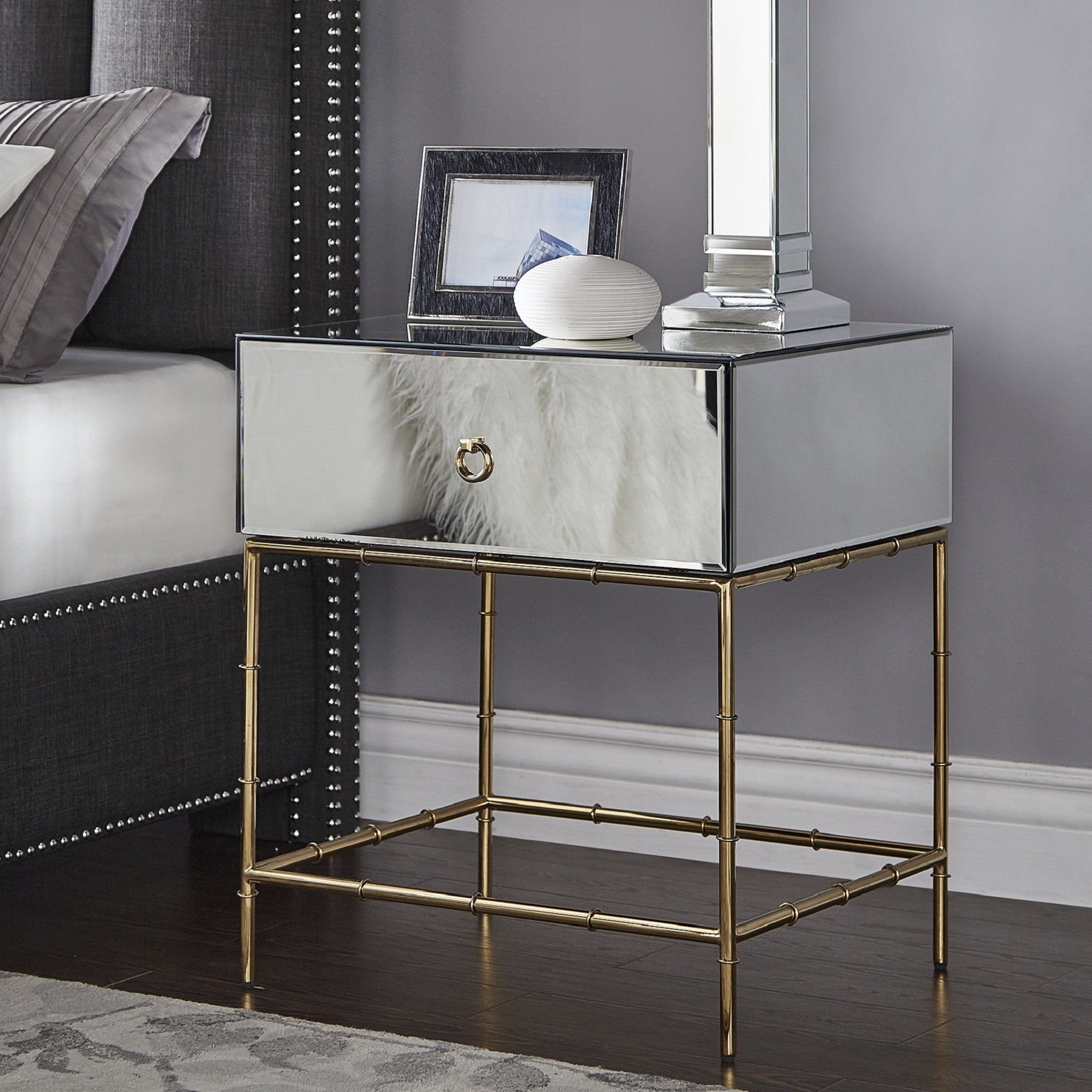 wade mirrored accent table with gold finish base inspire bold room essentials mixed material reproduction vintage furniture door threshold square for gaming tall small round