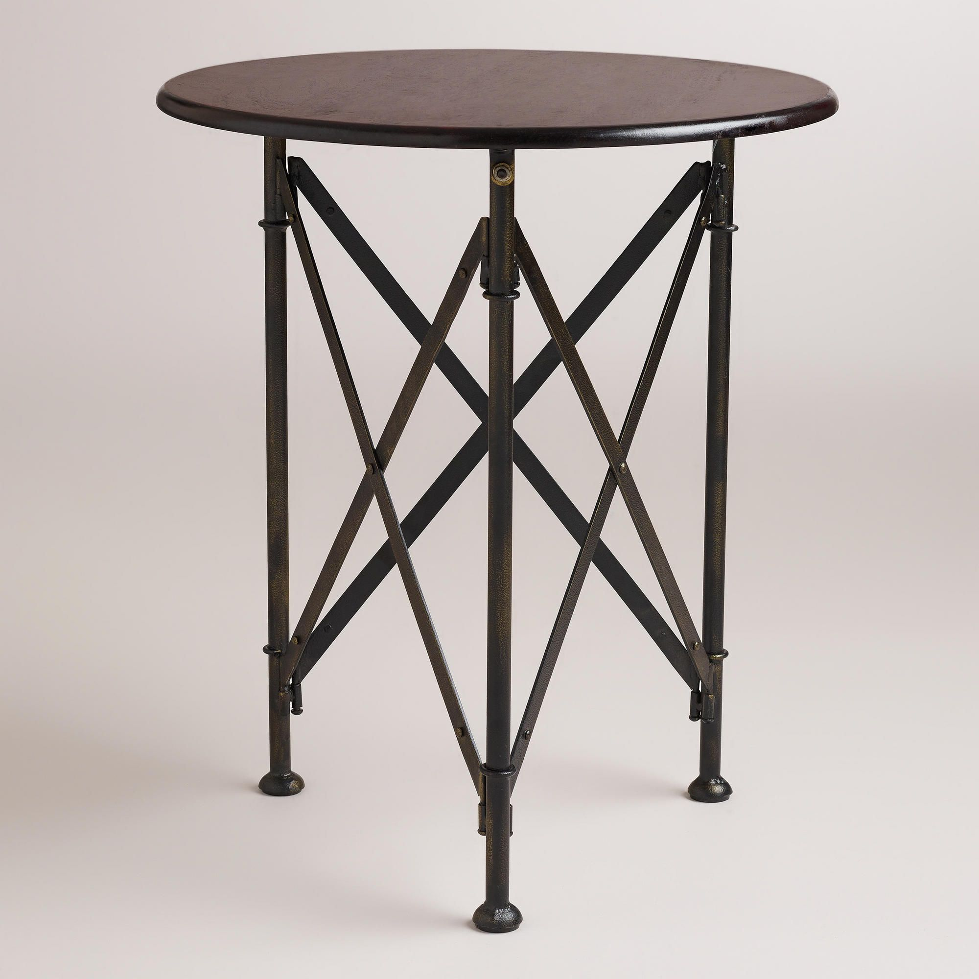 walker campaign accent table world market these are the accordion legs was talking about dining room placemats real marble bistro furniture entry mat pool bunnings brown linen
