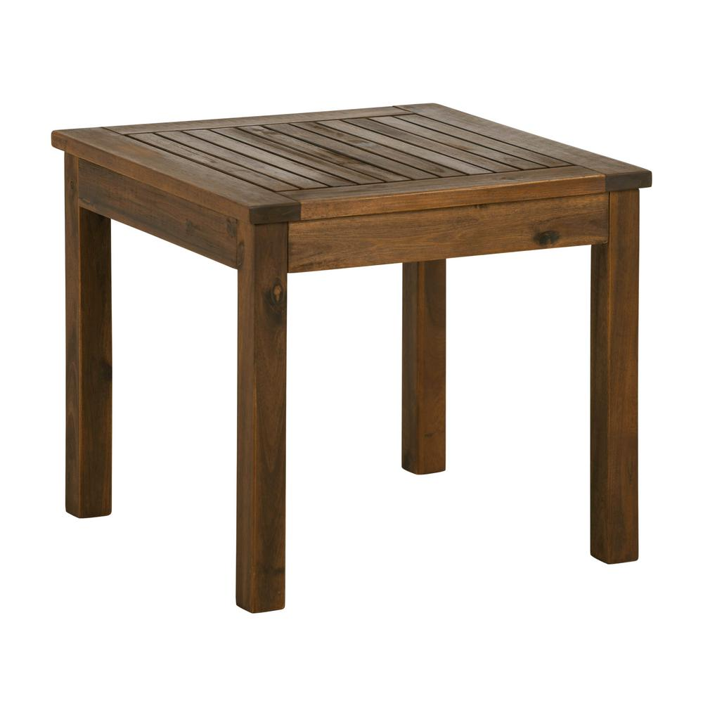 walker edison furniture company dark brown square acacia wood outdoor side tables hdwsstdb table oak glass copper mat for dining tiffany lamps hollywood mirrored small drop leaf