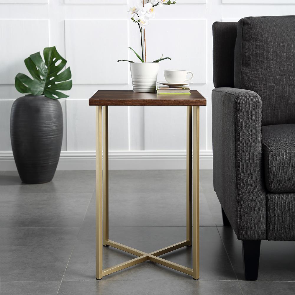 walker edison furniture company dark walnut top gold legs end tables accent table square side the aqua blue contemporary glass coffee nautical cocktail pier sofa butcher block