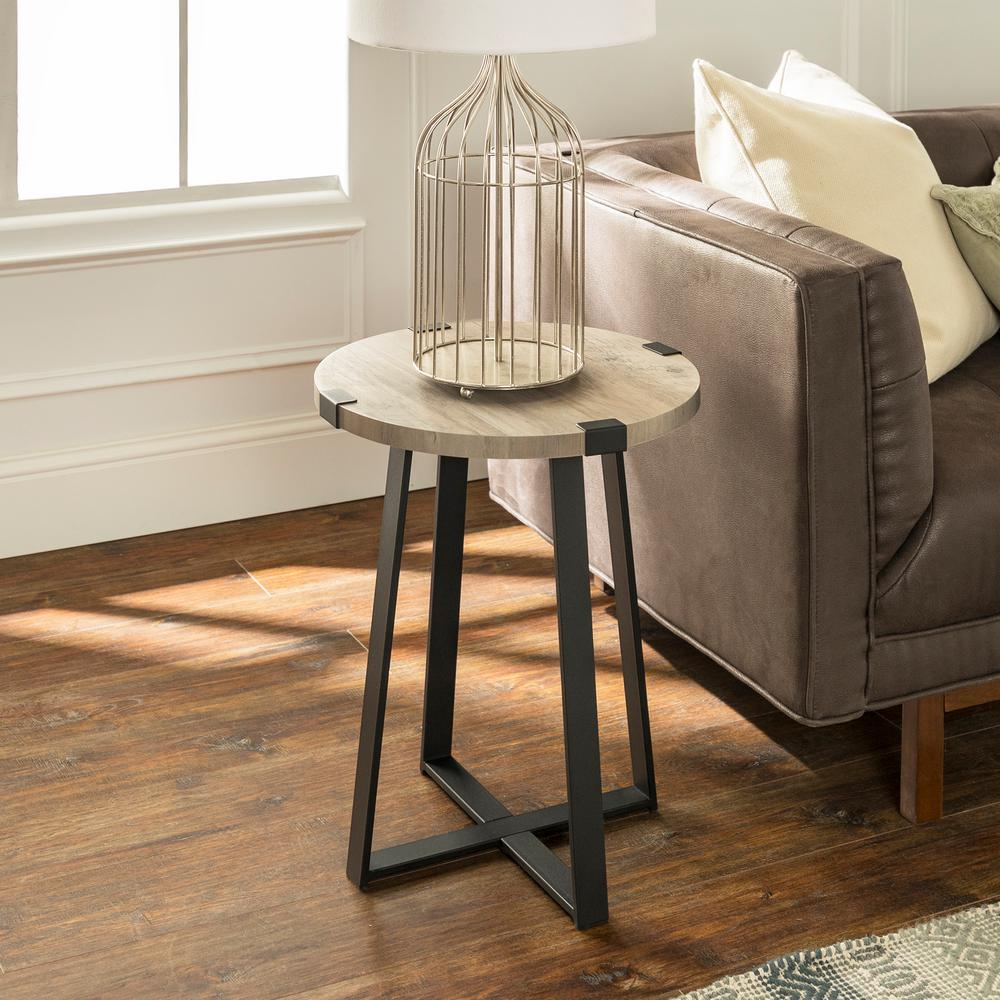 walker edison furniture company grey wash rustic urban end tables round accent table with screw legs industrial wood and metal wrap avani drum contemporary patio white oak bedside