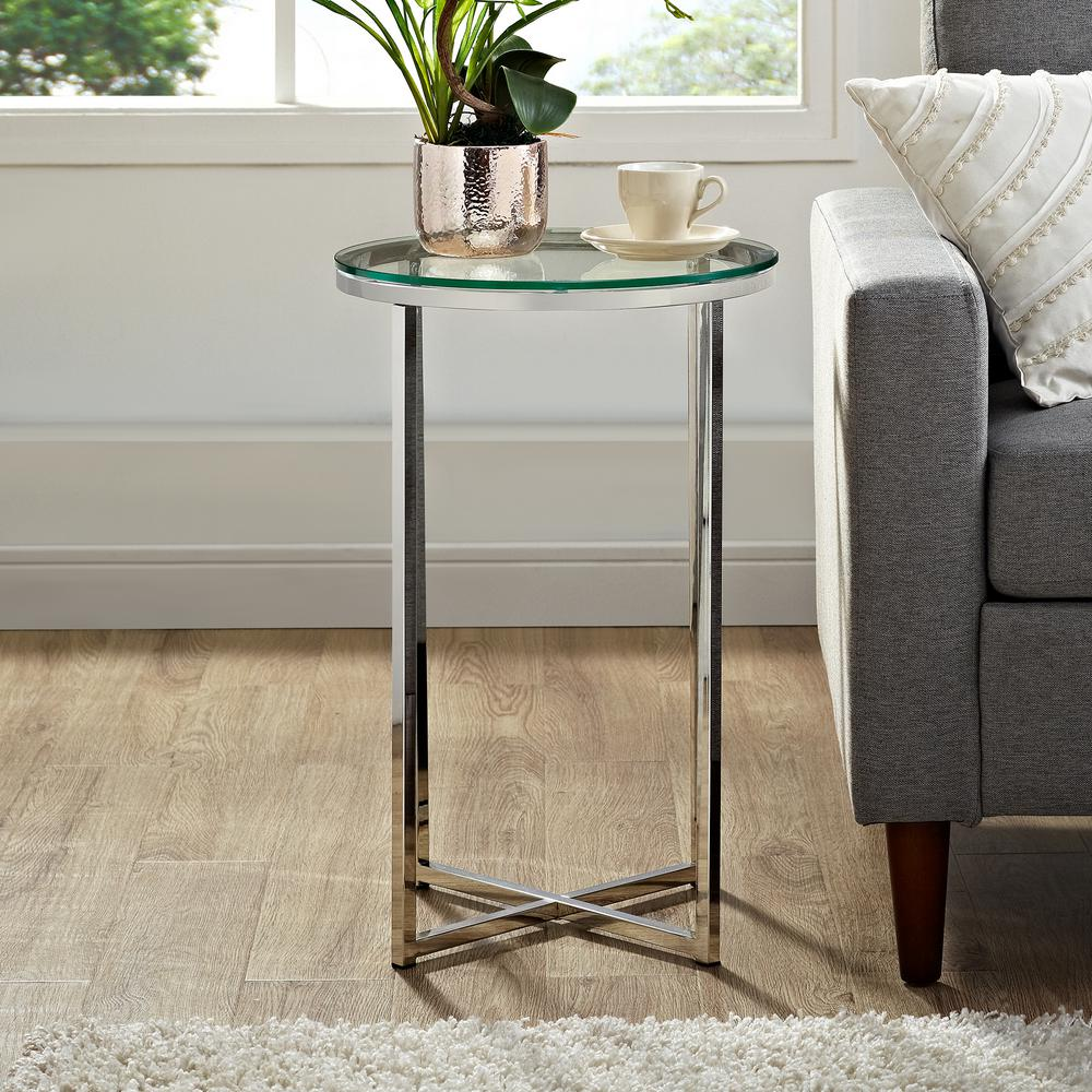 walker edison furniture company marble gold round side table chrome end tables mila square accent glass mid century modern base lawn black and white nightstand mosaic tops outdoor