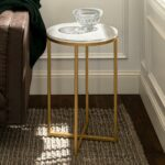 walker edison furniture company marble gold round side table end tables accent with screw legs the pottery barn spotlight lamp wicker baskets black metal and wood coffee sea 150x150
