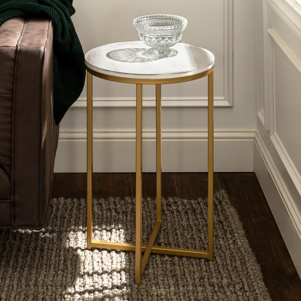 walker edison furniture company marble gold round side table end tables accent with screw legs the slim white chairside and glass bedside garden storage box black grey rug