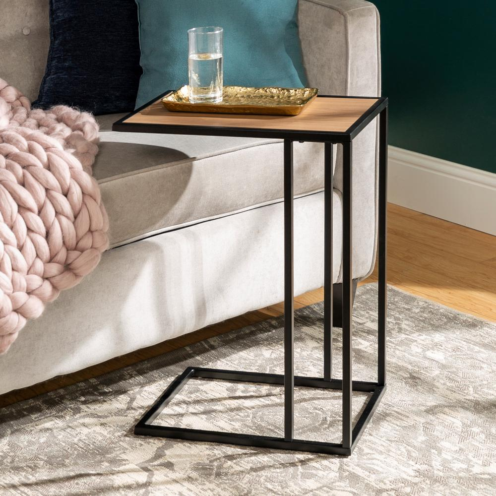 walker edison furniture company mocha urban industrial modern black end tables accent table nightstand contemporary transitional asymmetrical side tablecloth for rectangle two