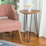 walker edison furniture company walnut hairpin leg wood side end tables accent table the ethan allen pedestal target entryway small chest cabinet pub dining set teak black iron 150x150
