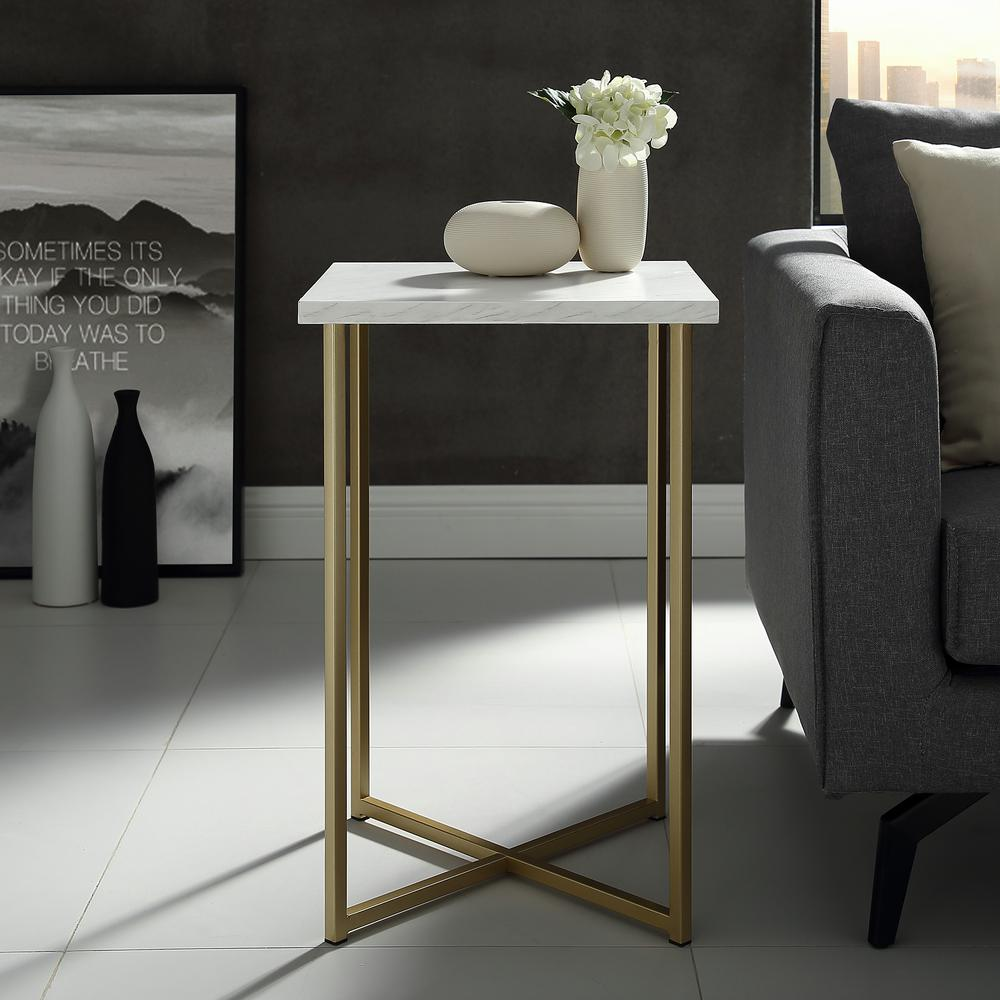 walker edison furniture company white marble top gold legs end tables accent table square side clear acrylic sofa carpet cover strip living room pieces metal round coffee outdoor