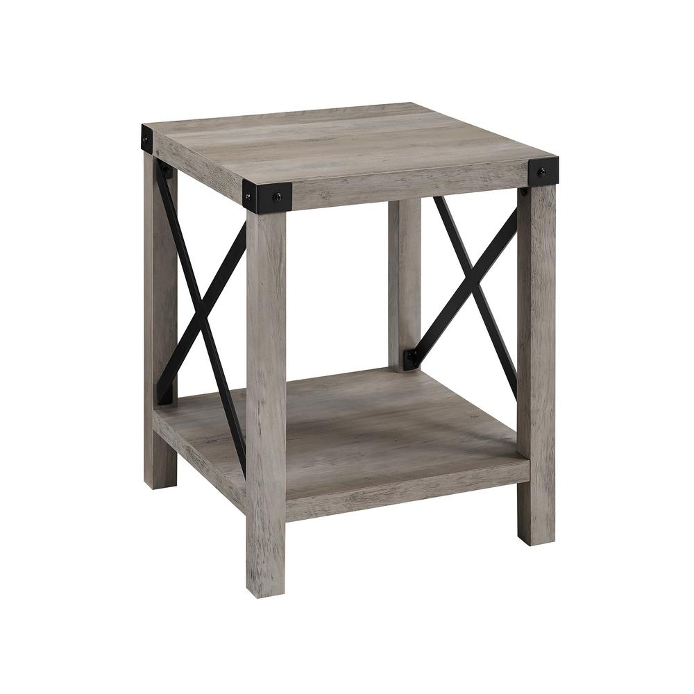 walker edison grey wash rustic urban industrial metal end tables accent table farmhouse side drum target small red black lamp folding ikea white quilted runner and desk combo