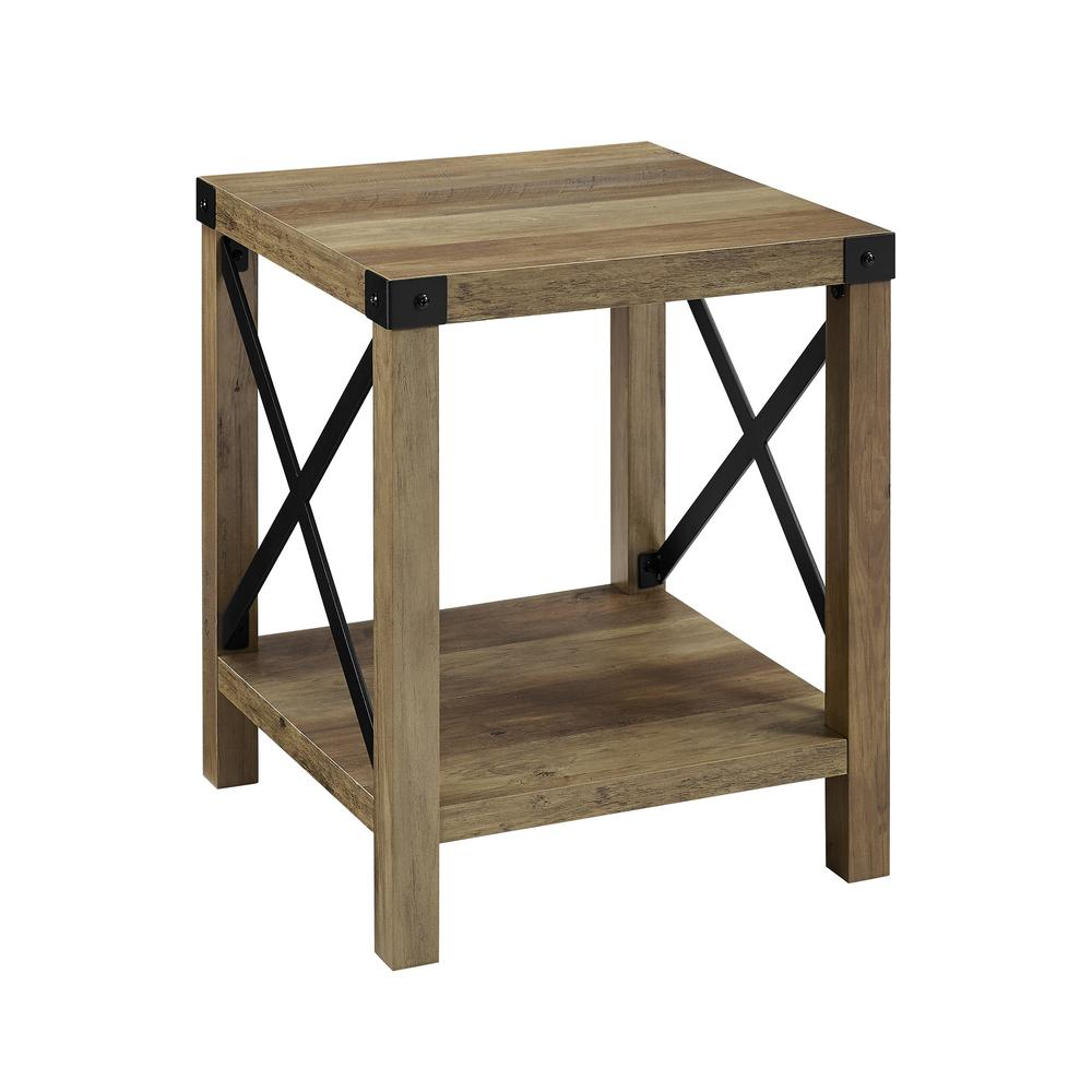 walker edison rustic oak urban industrial metal end tables accent table sofa side the rattan and chairs farmhouse style home goods dining room pier imports patio furniture glass