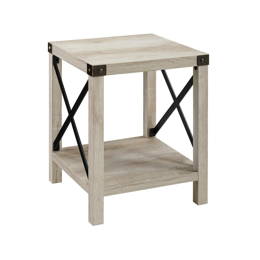 walker edison white oak rustic urban industrial metal end tables wood accent side table plastic pier lamps restoration hardware cloud sofa home accessories round tablecloth bar