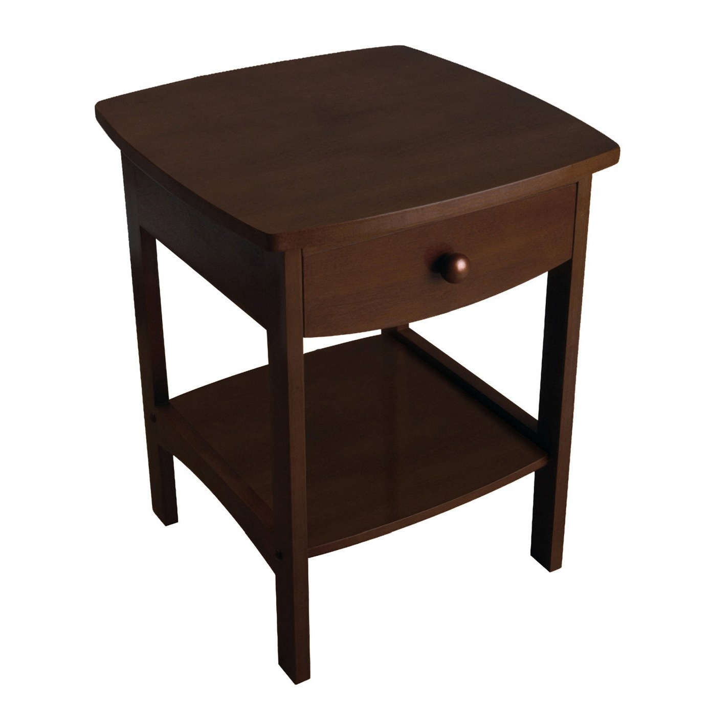 walnut finish accent table nightstand with one drawer drum stool battery operated end lamps coral chair big cloth round metal garden elastic covers decoration pieces for drawing