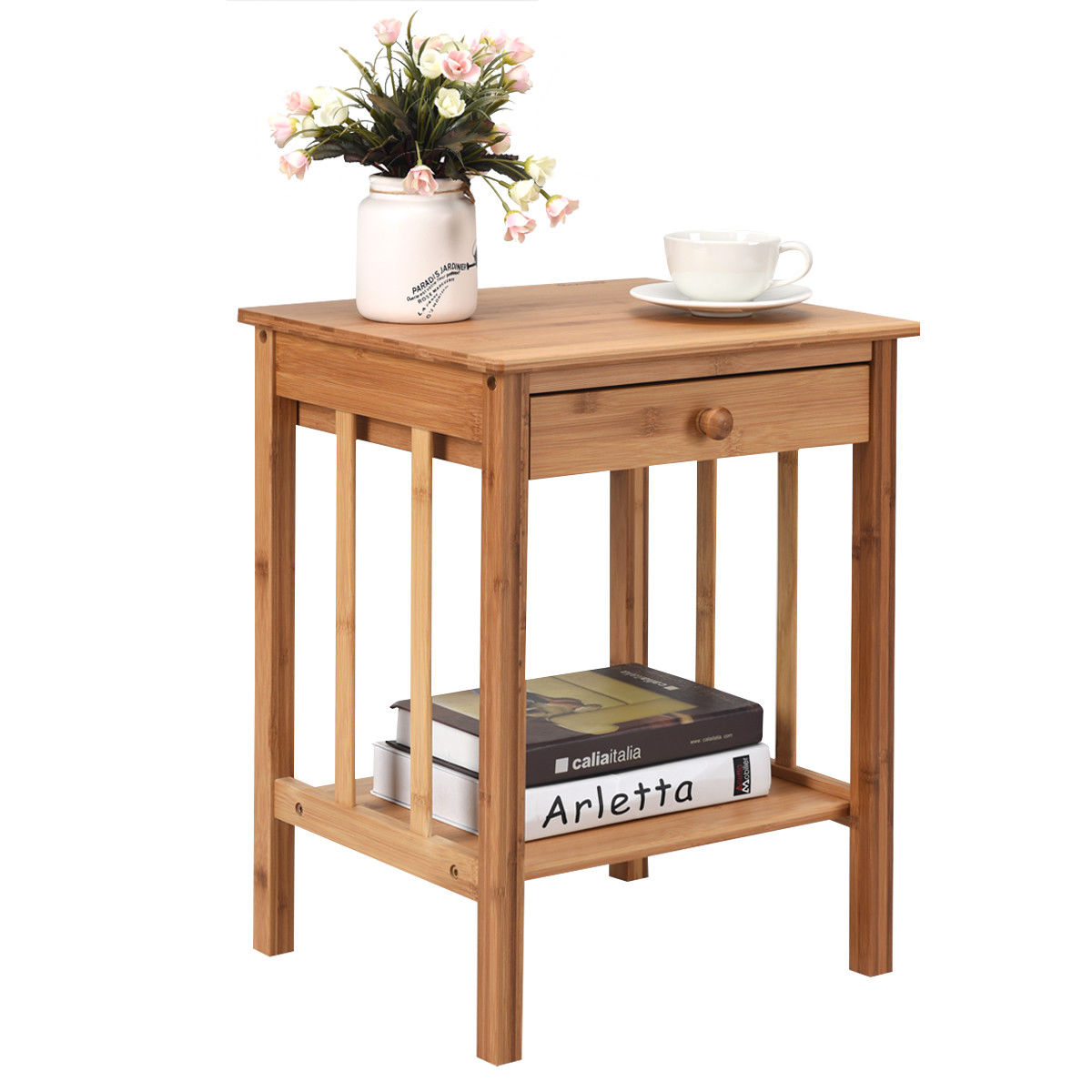 way bamboo nightstand end table drawer storage shelf outdoor side with multipurpose shallow hall accent stand metal glass top trestle dining room sets rod iron patio furniture