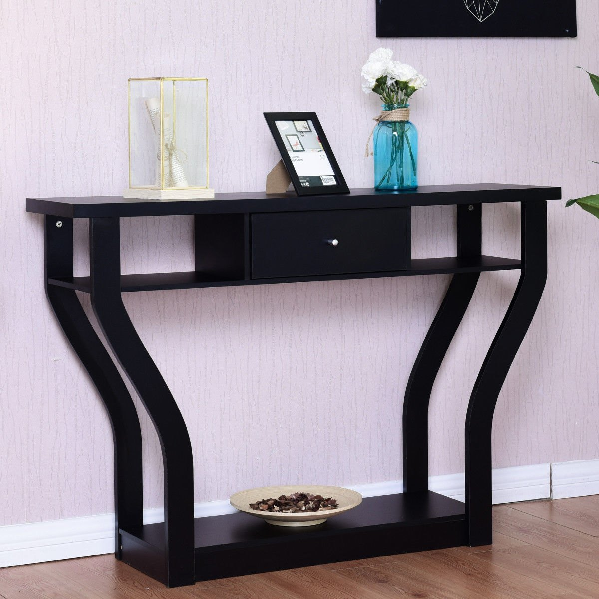 way black accent console table modern sofa entryway tables hallway hall furniture drawer stacking ikea mosaic patio set round coffee and end marble top dining with door navy pub
