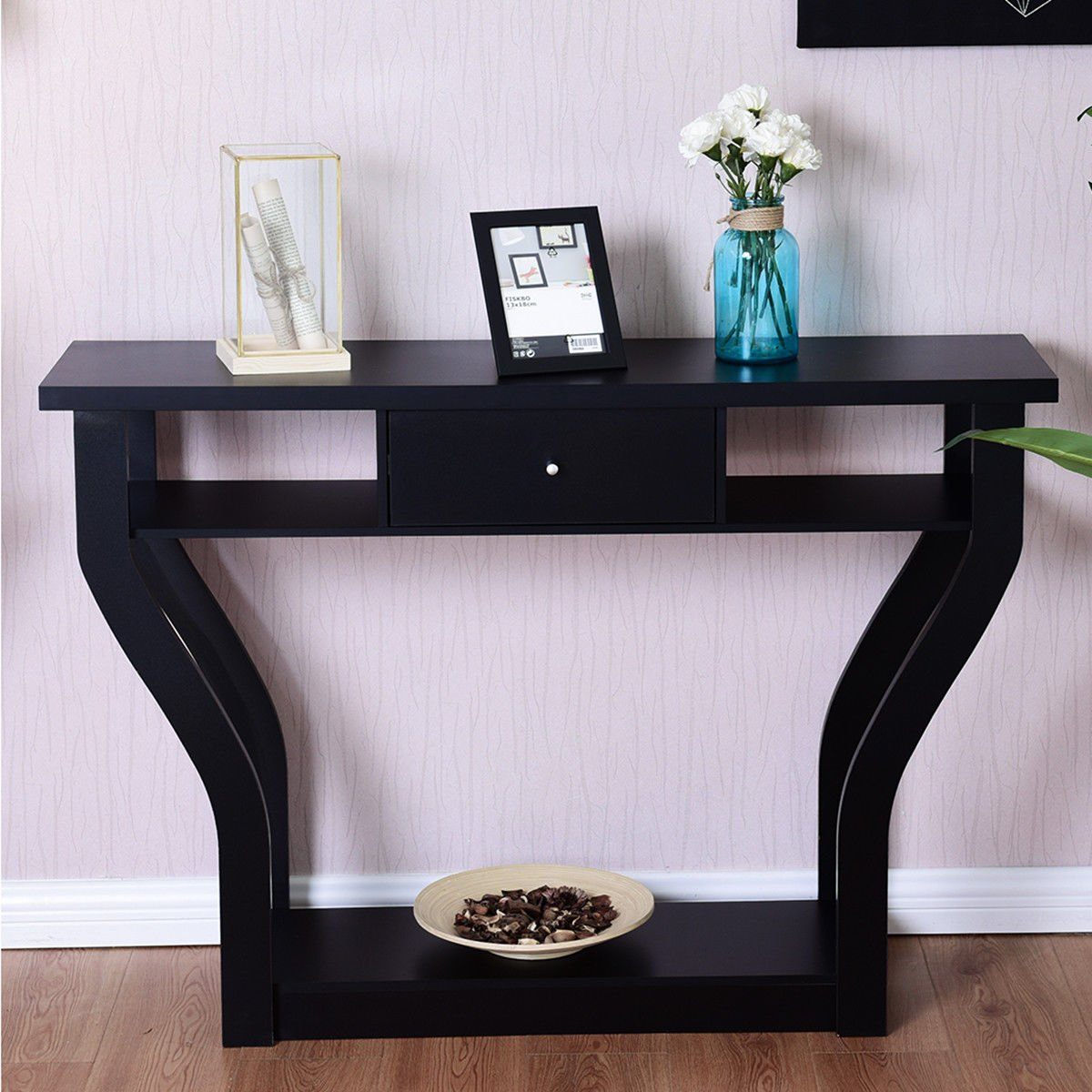 way black accent console table modern sofa entryway with drawer hallway hall furniture globe lamp antique oak bedside tables winnipeg round cooler tiffany tulip shaker end rustic
