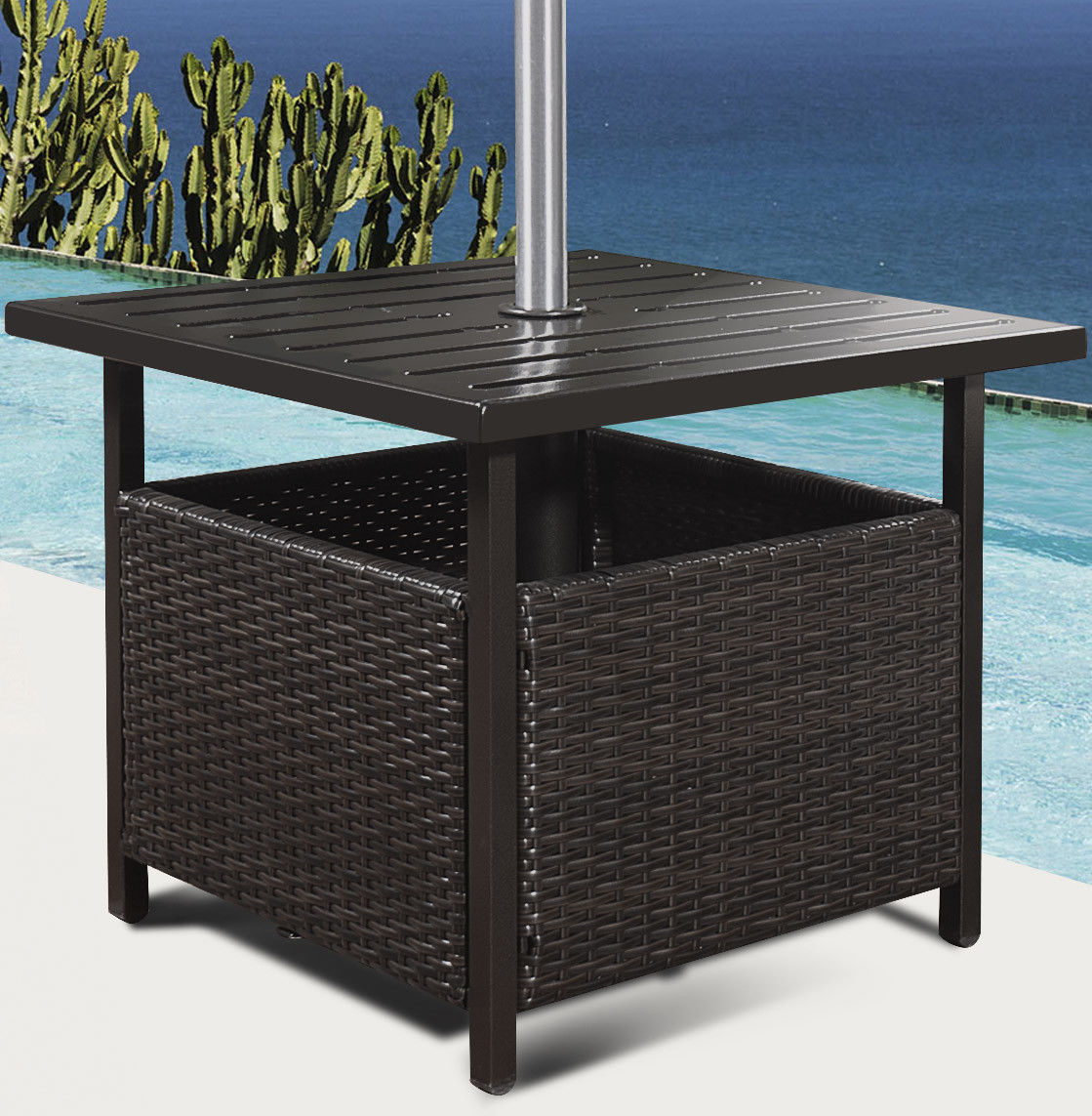 way brown rattan wicker steel side table outdoor furniture deck garden patio pool pottery barn modern accent with drawer large round dining very thin console oak nightstand walnut
