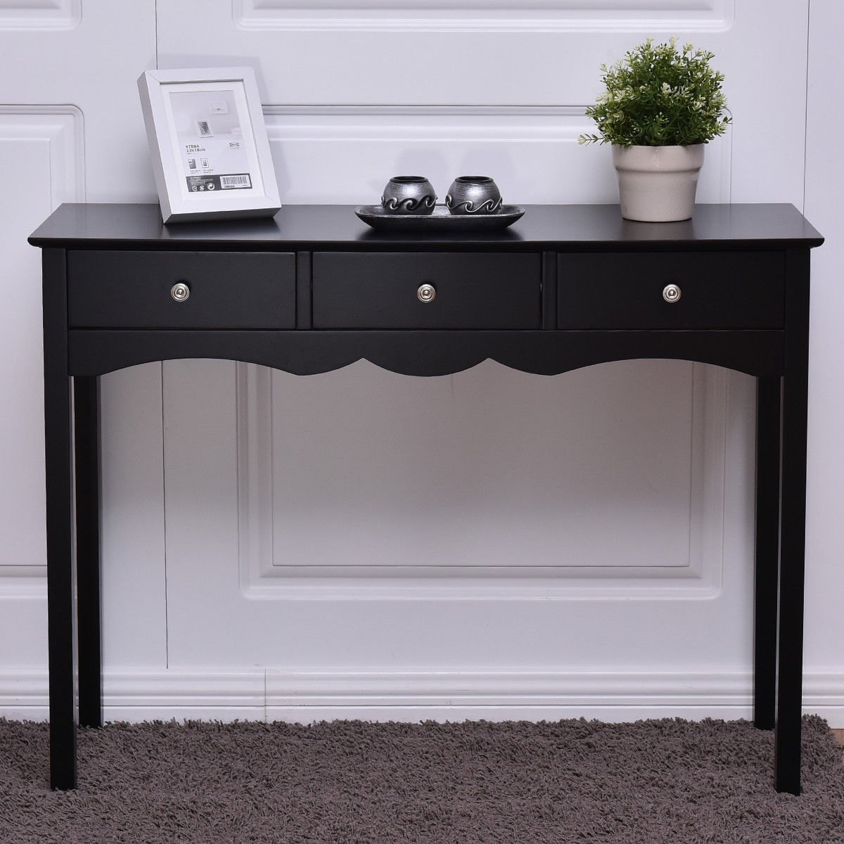 way console table hall side desk accent black with drawer drawers entryway globe lamp decorative cabinets furniture winnipeg square lucite white living room ideas trestle style