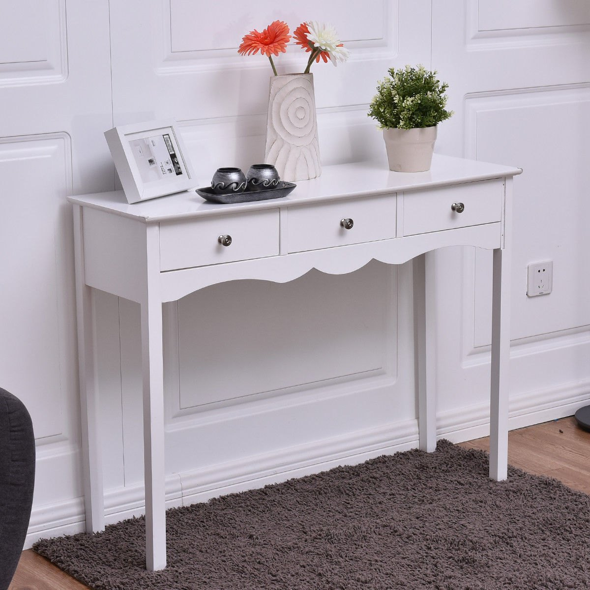 way console table hall side desk accent with drawers entryway white bar style bedside charging station large umbrella tabletop gas grill half round wall target dishes tama drum