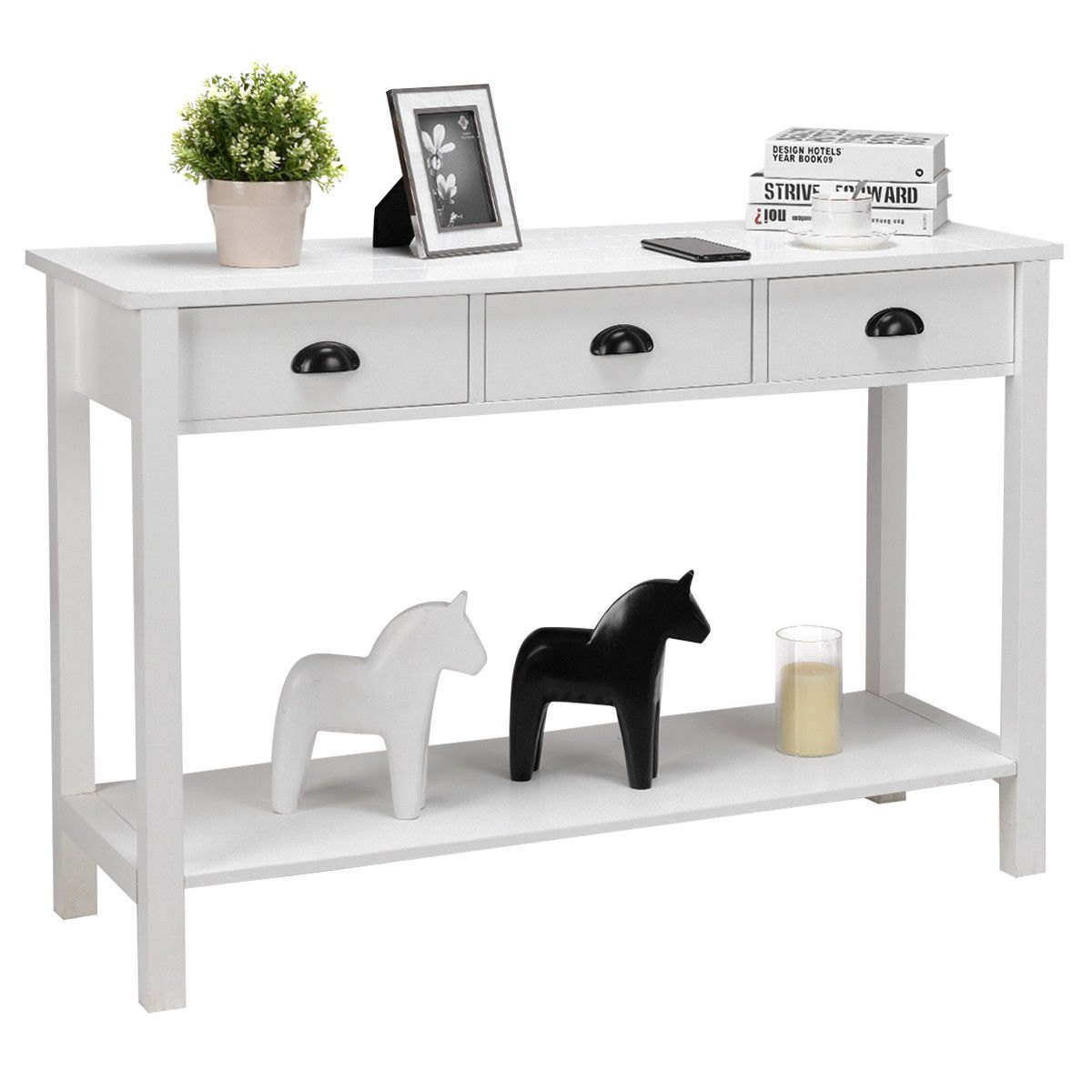 way console table hall side desk accent with drawers shelf entryway white set tables round drum end mid century bar bedside charging station kohls wall clocks large umbrella seat
