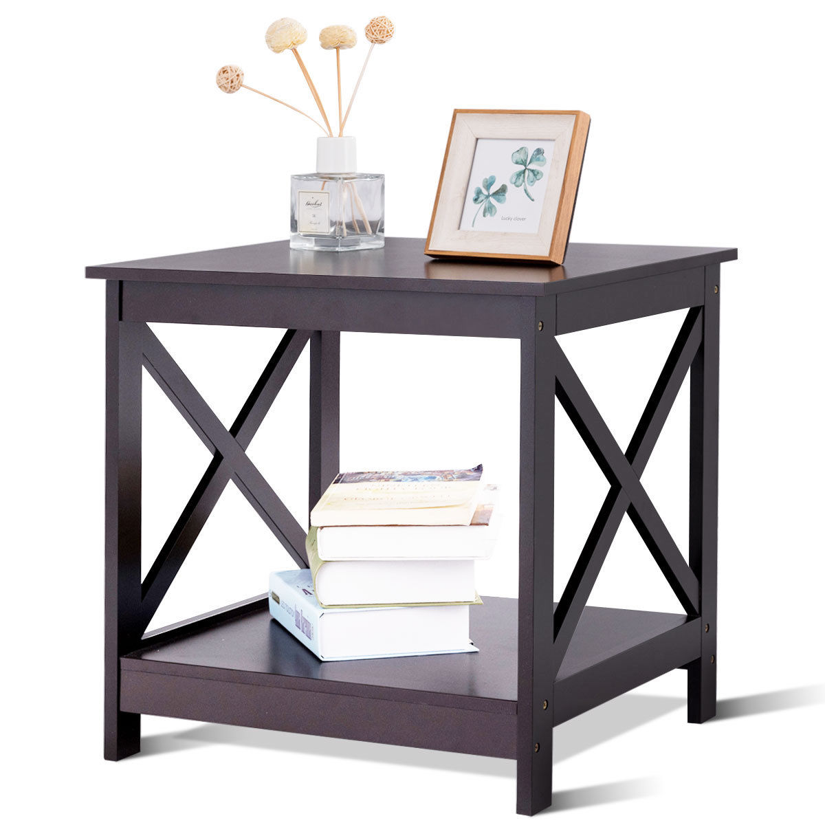 way end table design display shelves accent sofa side with drawer nightstand brown modern style tables trestle chairs drum seat cover room essentials brand stained glass light
