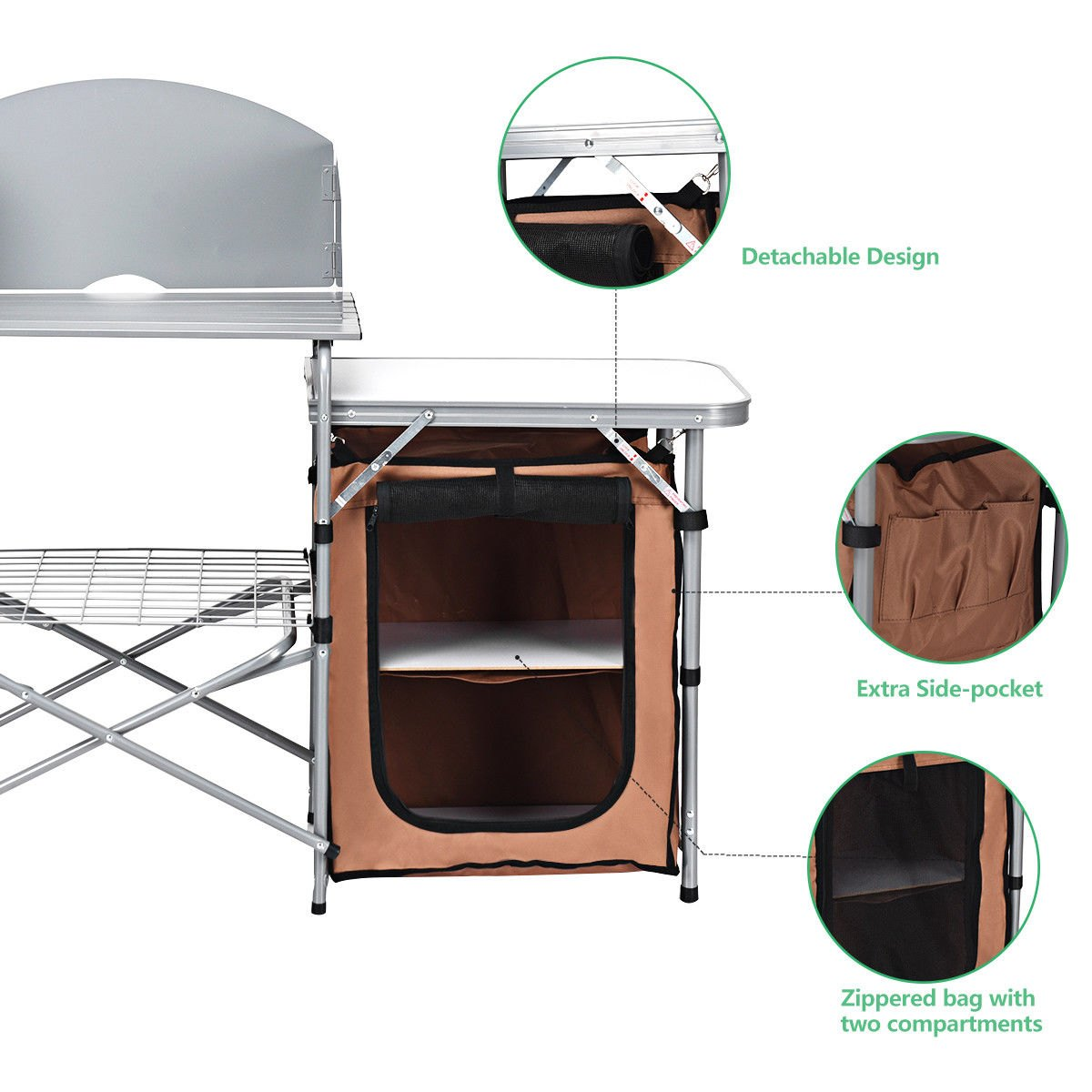 way foldable camping table outdoor bbq portable grill side grilling stand windscreen bag trestle dimensions purchase linens painted coffee ideas high top set living room storage