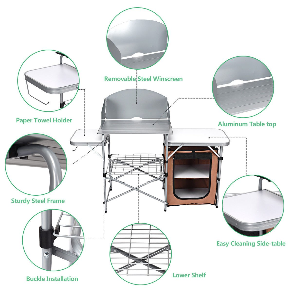 way foldable camping table outdoor bbq portable side for grilling stand windscreen bag two tier round accent tablecloth purple furniture reasonably canadian tire legs tables
