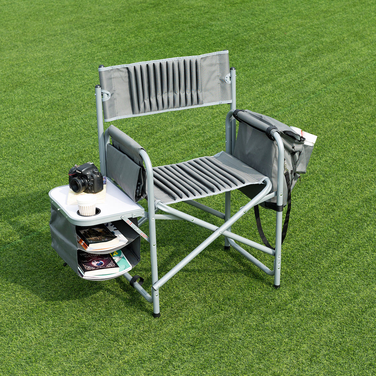 way folding compact director chair aluminum cup outdoor side table cooler holder bag mat design mirror with lights round acrylic coffee placemats cream and wood diy living room