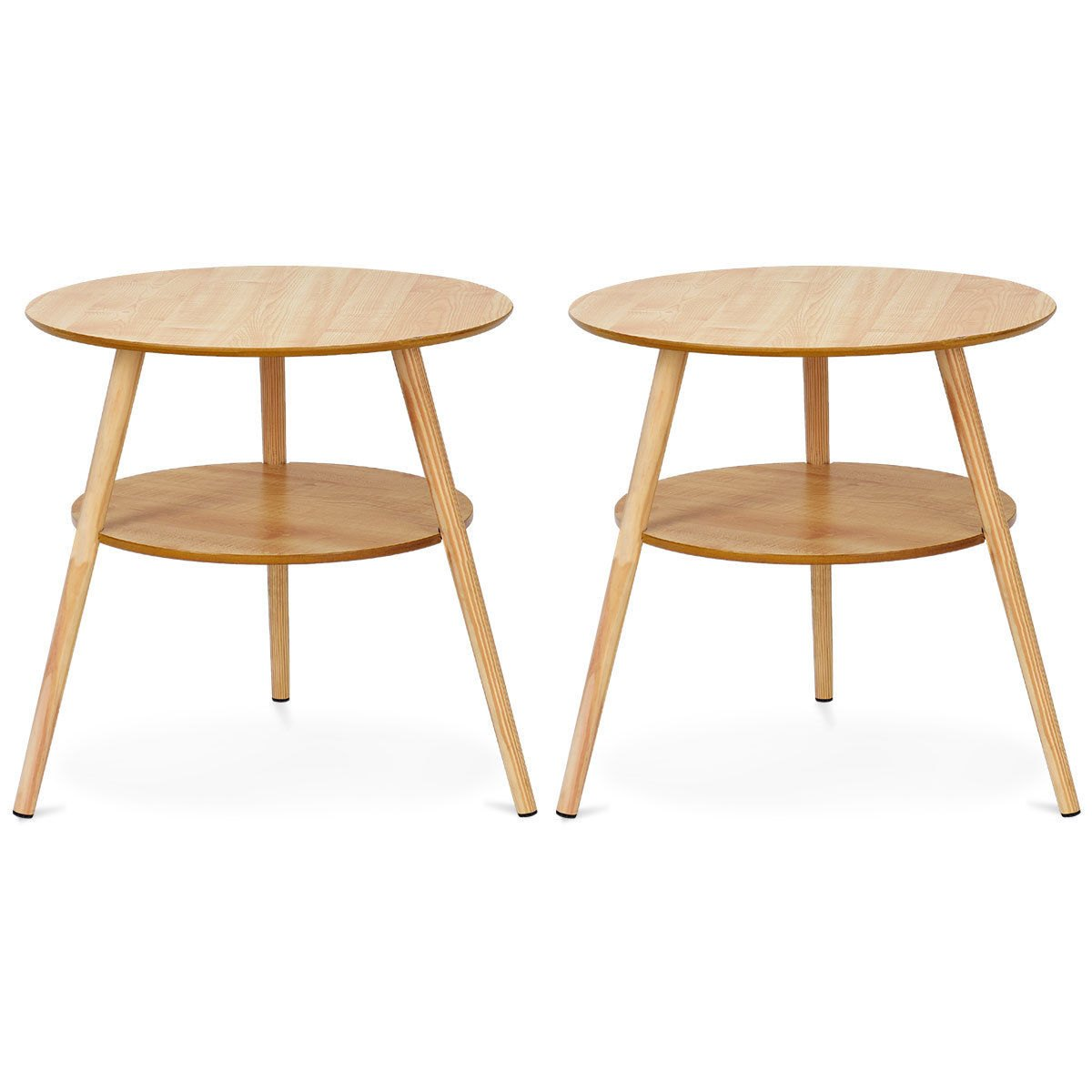 way goplus set round end coffee table side accent wood tier legs living room lamp shades patio covers canadian tire dining chairs best designs classic furniture design bottle wine