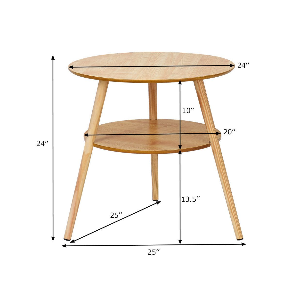 way goplus tier round end coffee table side accent wood legs living room furniture outdoor wall light fixtures with umbrella hole natural bottle wine rack grey chest small