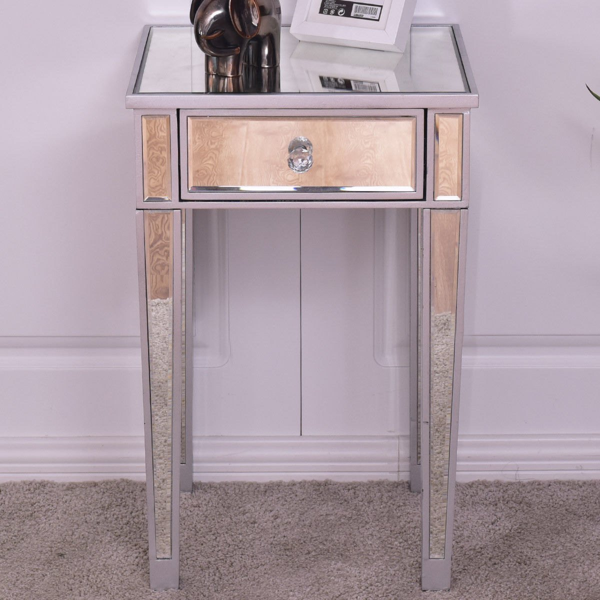 way mirrored accent table nightstand end bedside cabinet storage drawer acrylic ikea barn door designs small round occasional outdoor console with living room coffee and tables