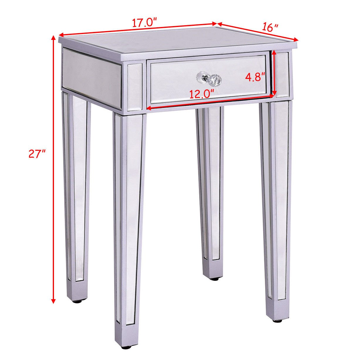 way mirrored accent table nightstand end bedside glass storage cabinet drawer narrow black modern coffee designs armoire style couch little kid chairs mosaic garden furniture sets