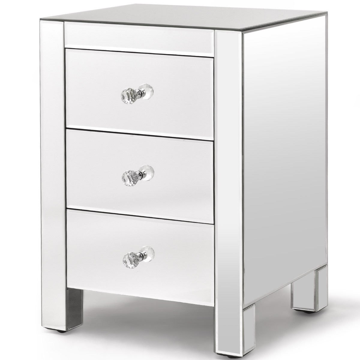 way mirrored nightstand drawer modern mirror end accent table with storage cabinet metal lamp chair side target ethan allen drop leaf coffee tall tables ikea for small spaces pine