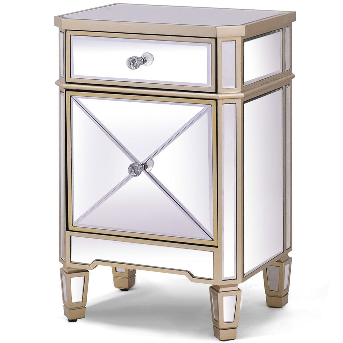 way modern mirrored nightstand storage accent cabinet table chest drawer with frog small living room decorating ideas cool tables cordless lamps light pier one dining furniture