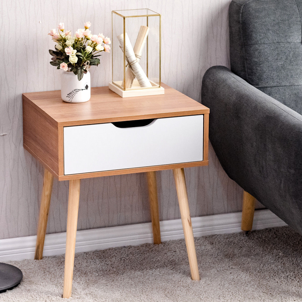 way nightstand end side table storage drawer living room tables with furni solid wood leg homesense pillows round nic ikea bedside drawers live edge slabs oak dining furniture