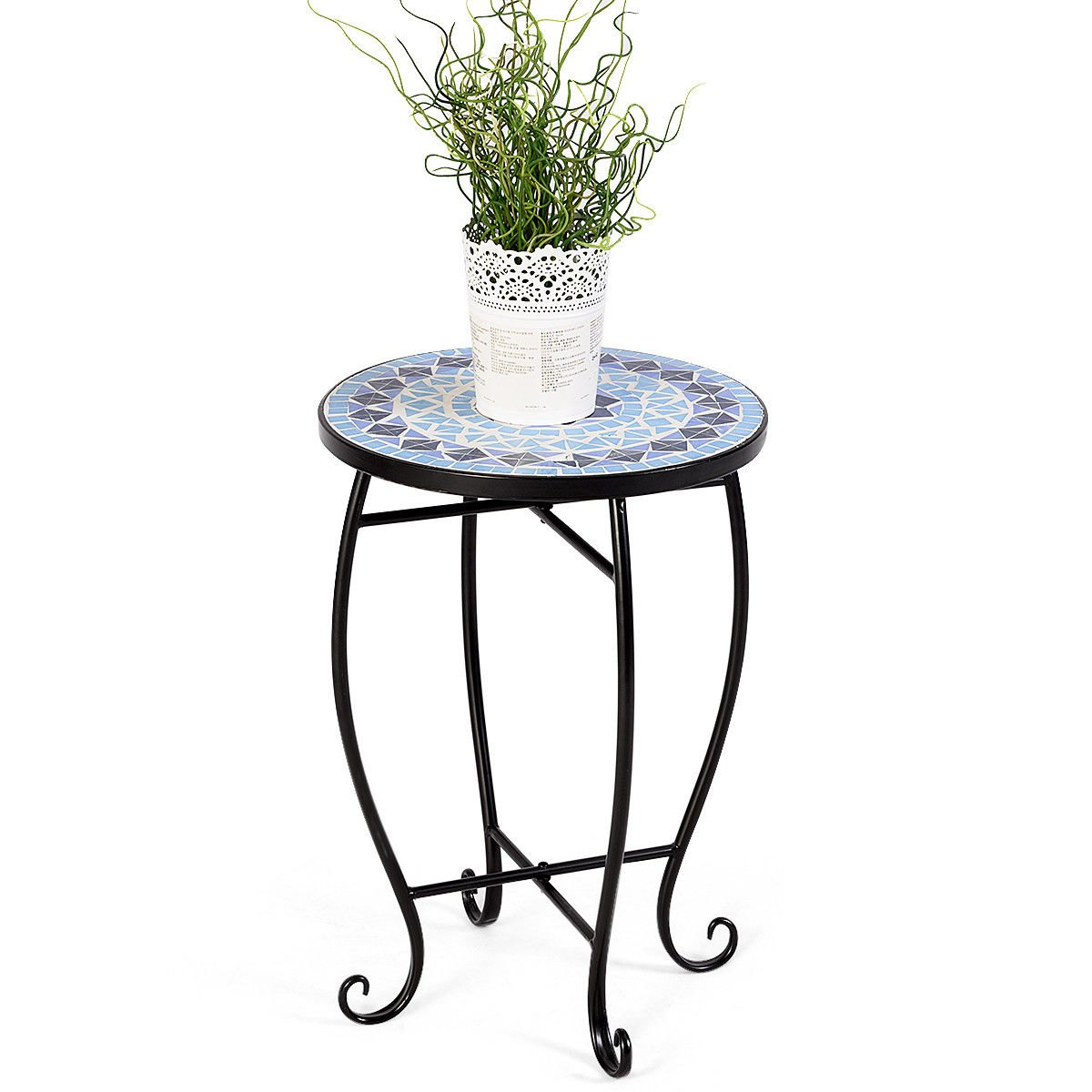 way outdoor indoor accent table plant stand cobalt blue color scheme garden steel metal coffee set wine cabinet office furniture portland college dorm with wheels vintage drop