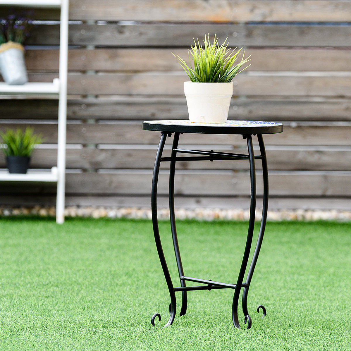 way outdoor indoor accent table plant stand scheme garden steel ocean black bedroom end tables red metal side comfortable drum throne corner chair coffee set gold decorative